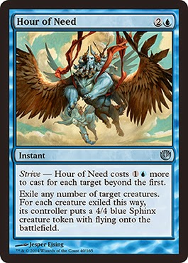 MtG expansion Journey into Nyx blue sorcery polymorph into sphinx