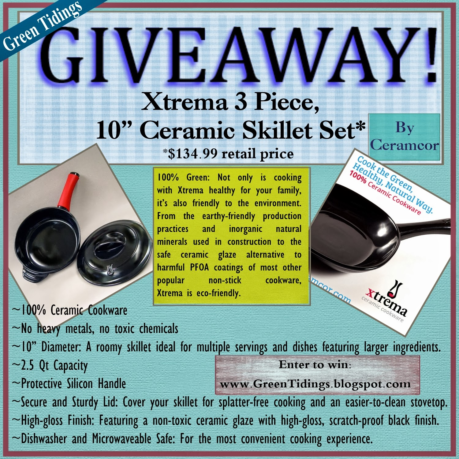 Green Tidings: Ceramcor Xtrema Ceramic Cookware Giveaway