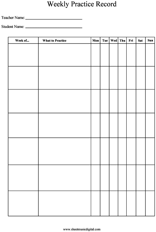 Agile image pertaining to printable music practice log
