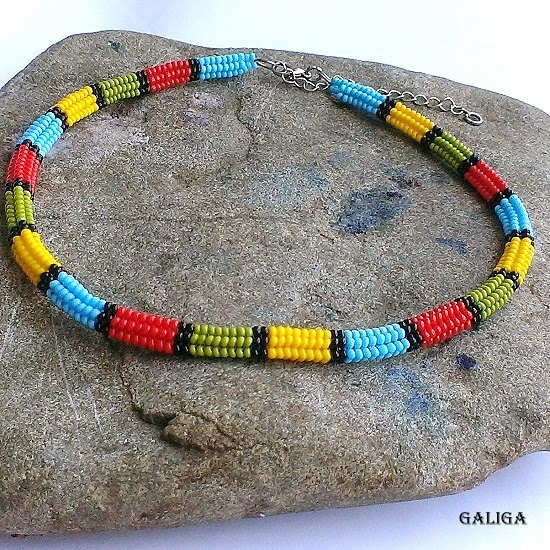 Beaded necklace- colorful seed bead neclace-ethnic style beaded jewelry