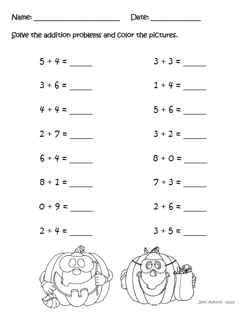 math worksheet : kinderkids fun october 2012 : October Math Worksheets
