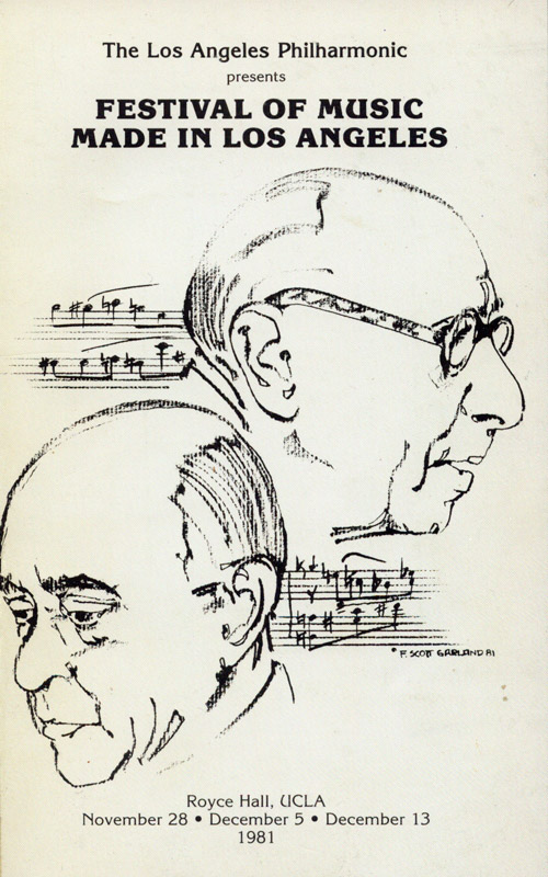 cover of program booklet 'Music Made in Los Angeles' 1981 - Schoenberg and Stravinsky