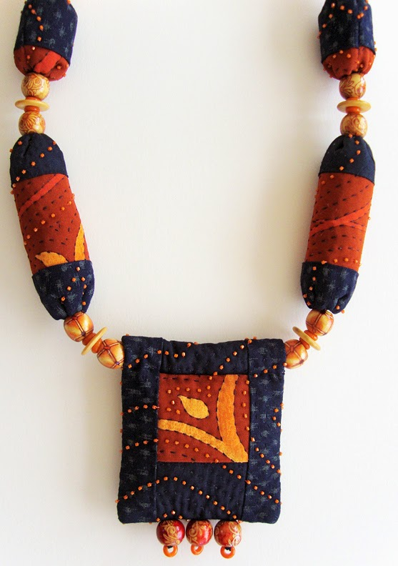 Robin Atkins bead quilt necklace, detail