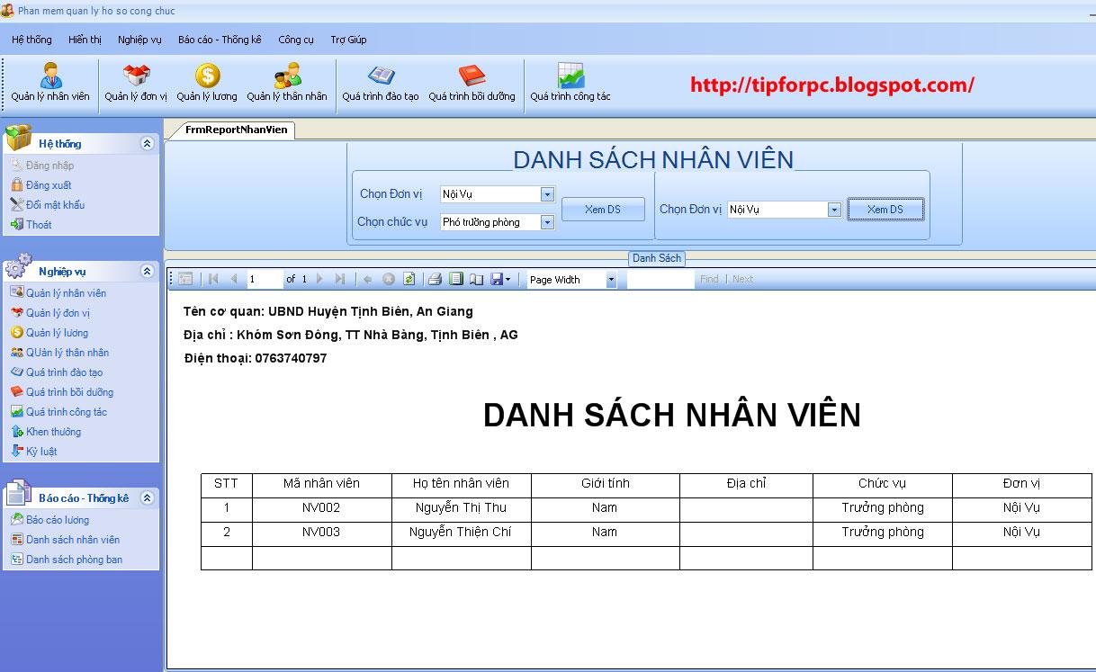 Mã nguồn phần mềm Quản lý Hồ sơ công chức huyện Tịnh Biên