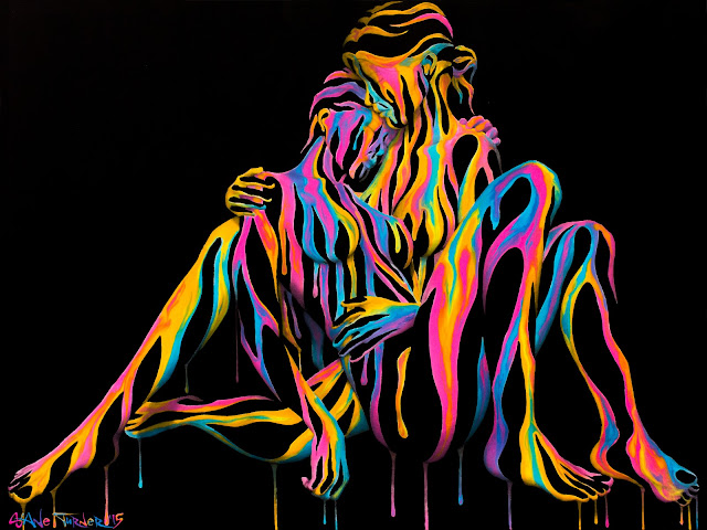 Surreal acrylic painting of a lesbian couple holding each other, negative space, made of colorful dripping paint.