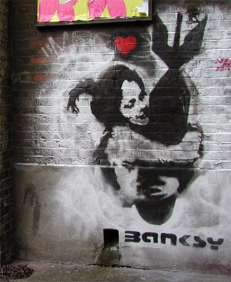 banksy's controversial art Whether or not you are a fan of art, you've probably heard of banksy banksy is the pseudonym of a street artist who's identity remains unknown banksy's rise to fame and notoriety was born from his controversial and often politically-charged stencilled graffiti works banksy has done such a.
