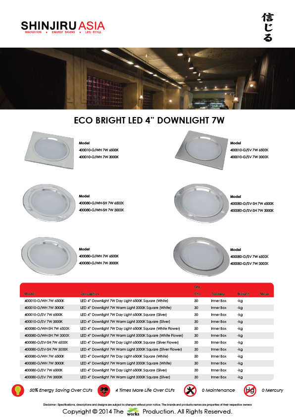 "Shinjiru Asia, LED 4"", Downlight 7W, Catalogue"