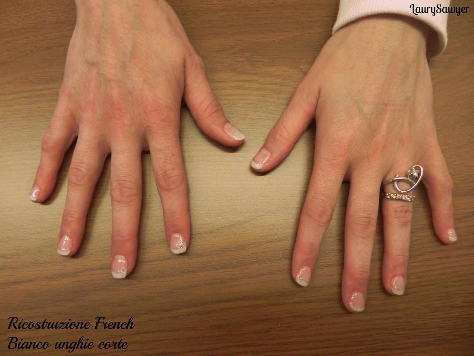 Ricostruzione unghie corte, French Bianco
