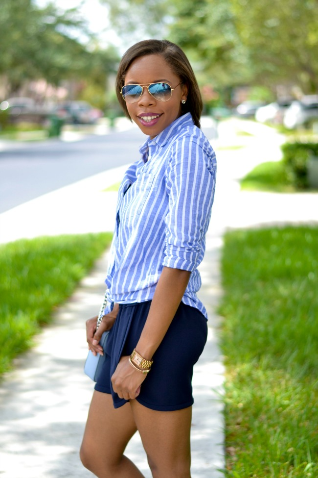 J. Crew Pull On Shorts + Striped Shirt | Spring Outfit Ideas