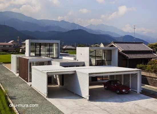 Casa minimalista formada de cuboides abiertos en Saijo, Ehime, Japón