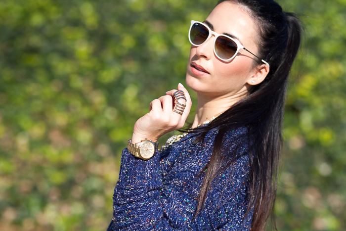 Reloj dorado Guess Watches esfera redonda Oro y Anillo Articulado de Torques Complementos Blogger moda valenciana