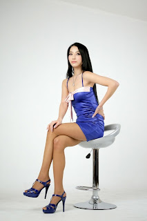 Seo You Jin Korean Sexy Model hot blue mini robe 9
