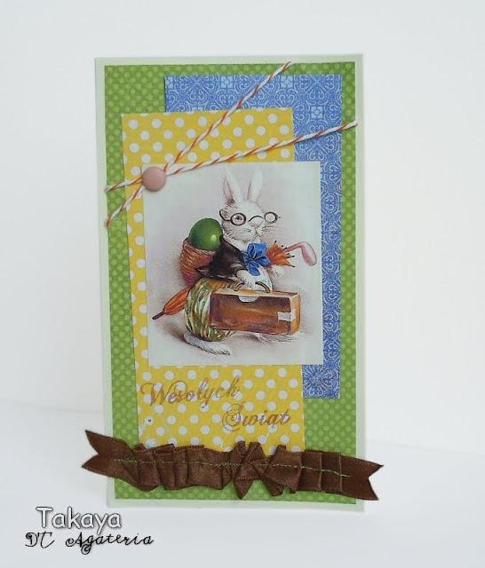 kartka z królikiem; z zajączkiem; zajączek wielkanocny