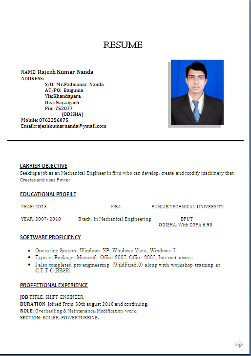 resume sle for mba b tech in mechanical engineering