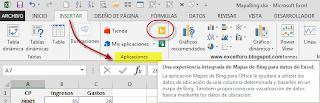 Mapas de Bing en Excel.