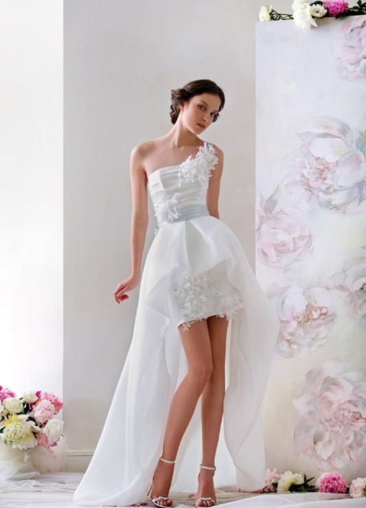 one shoulder high-low short wedding dress with lace appliques