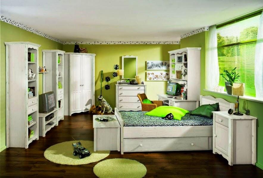 kamar tidur anak perempuan minimalis warna hijau