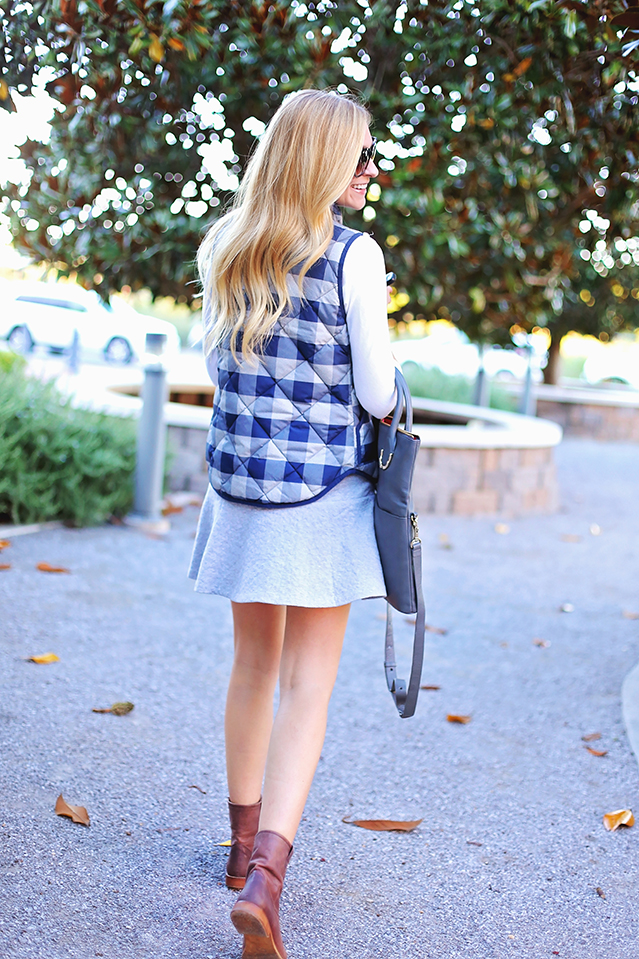 plaid quilted vest and boots