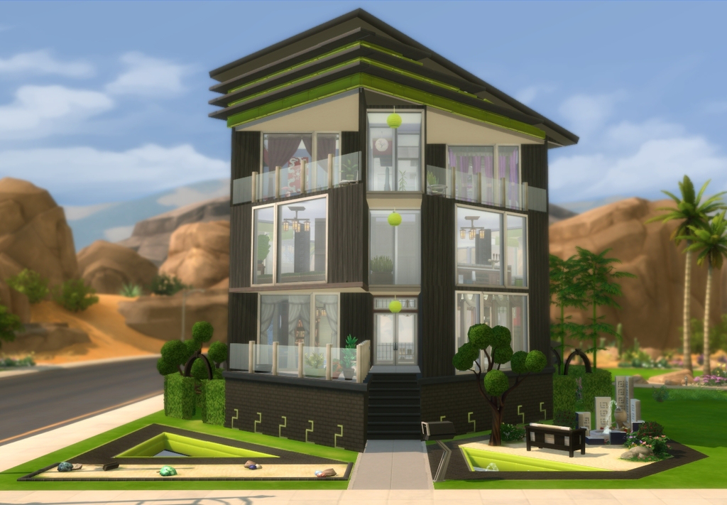 My sims 4 blog chokkaku right angle house by bry for Right angle house