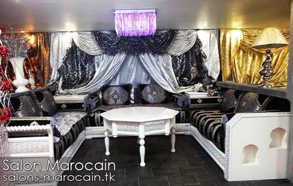 Salon marocain moderne noir et argent for Salon marocain noir et blanc