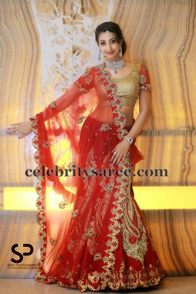Sanjana Red Thread Work Net Lehenga