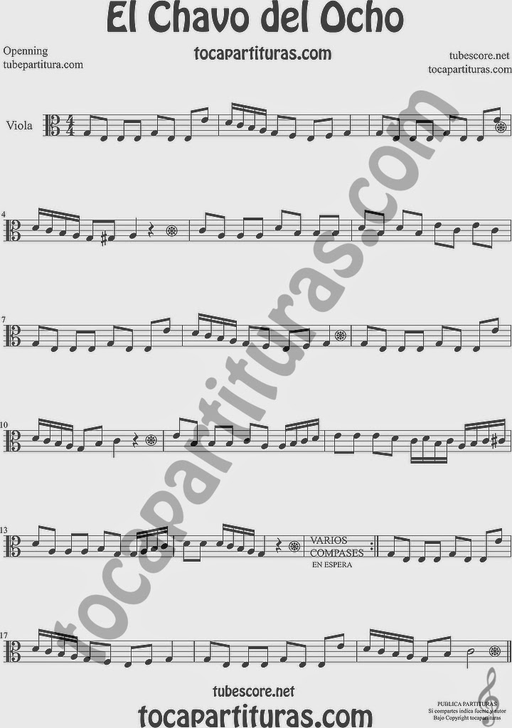 El Chavo del Ocho  Partitura de Viola Sheet Music for Viola Music Score