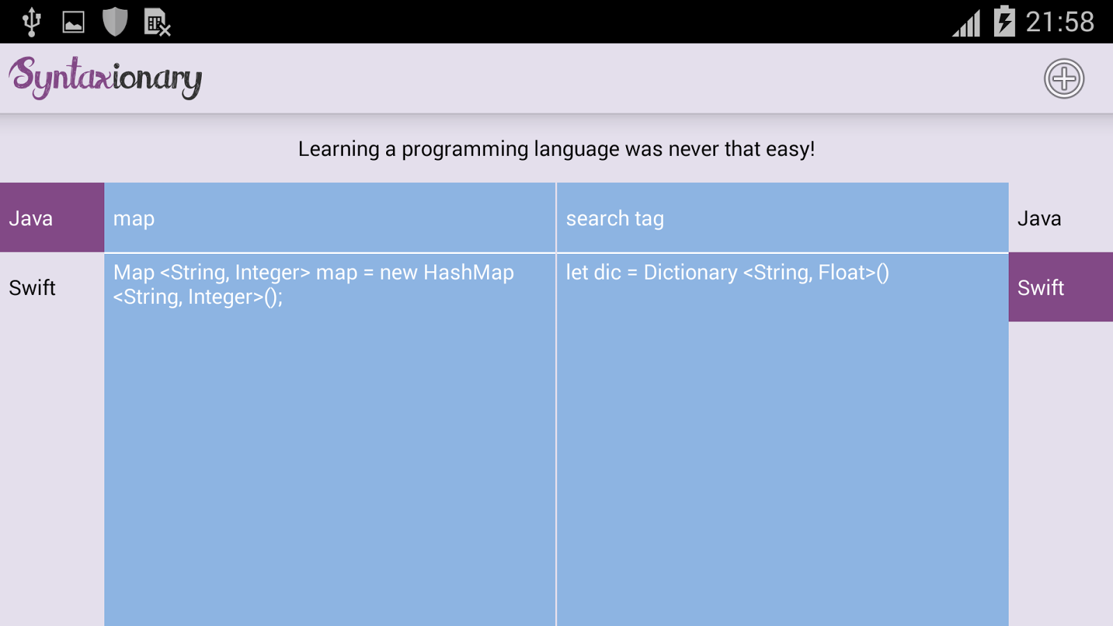 Syntaxionary - Programming Language Dictionary