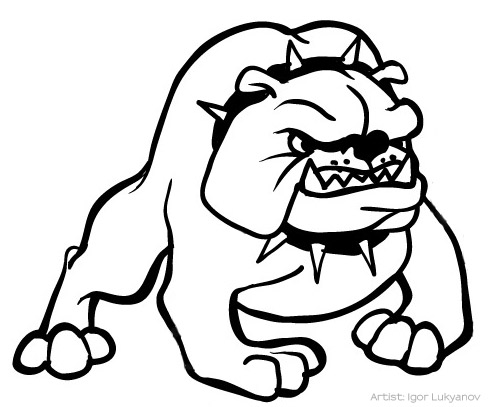 angry dog cartoon, bulldog