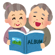 アルバムを見ている老夫婦のイラスト
