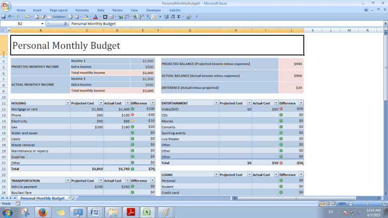 Free budget template excel 2007