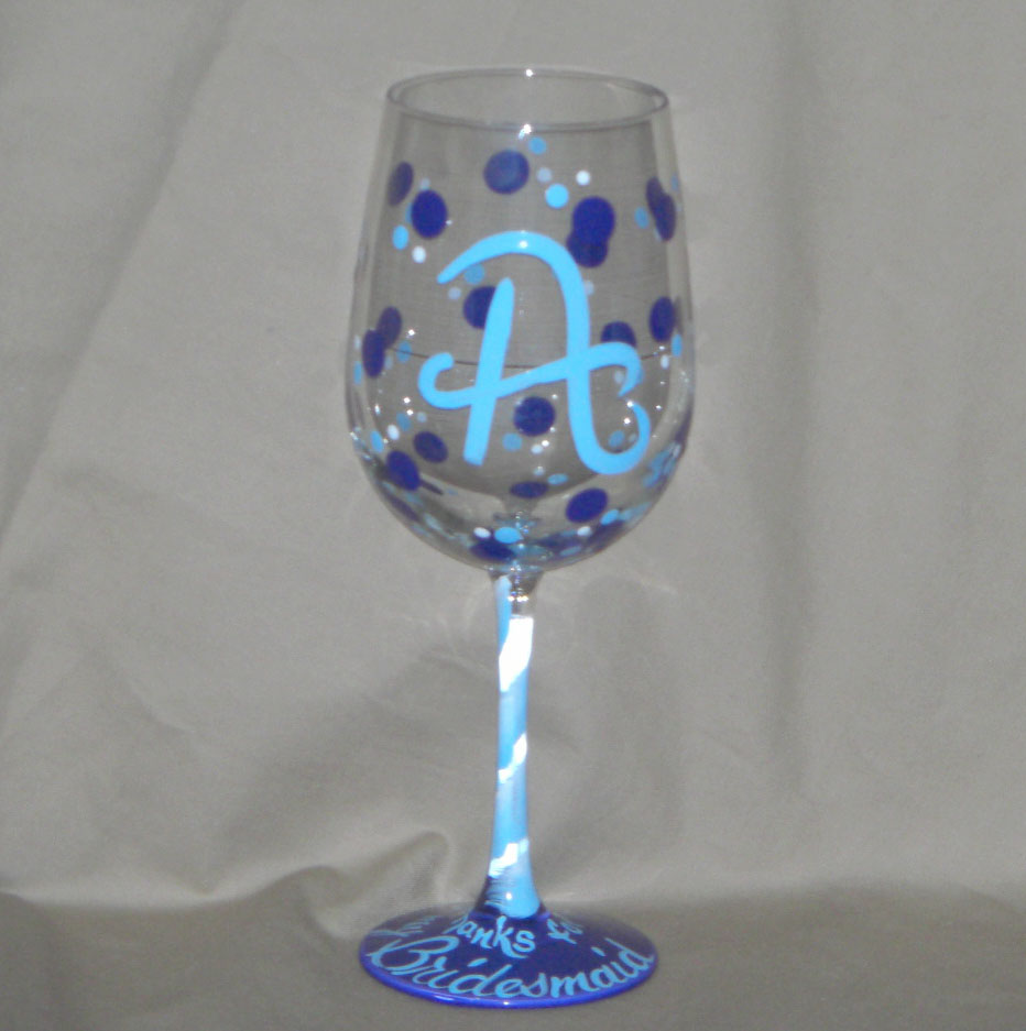 The blog bybecca talk hand painted glass and color for Painted wine glasses with initials