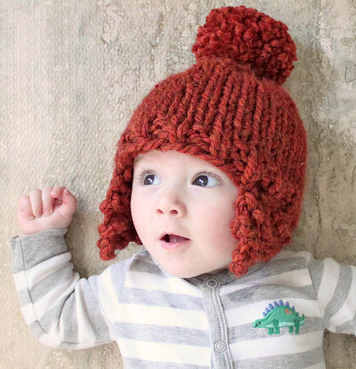 Newborn Crochet Hat Pattern With Ear Flaps : Baby Ear Flap Hat [knitting pattern] - Gina Michele