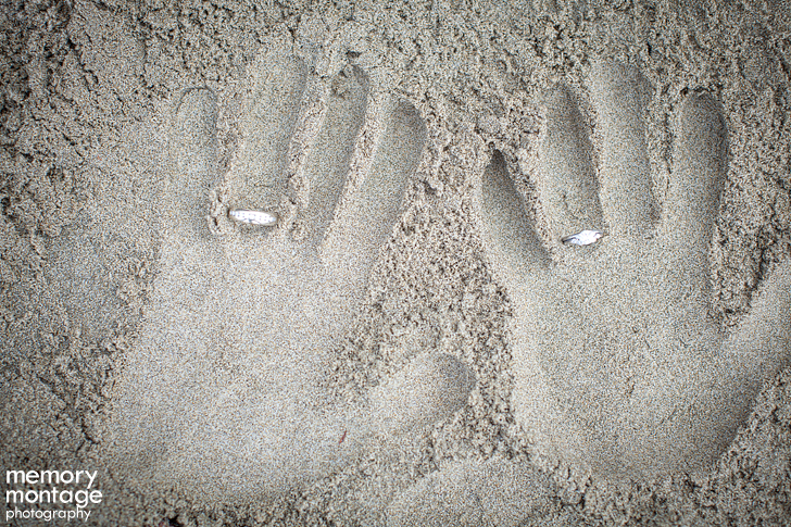 rings in sand wedding photography