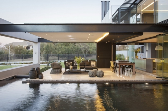 Photo of the living room and interior pool