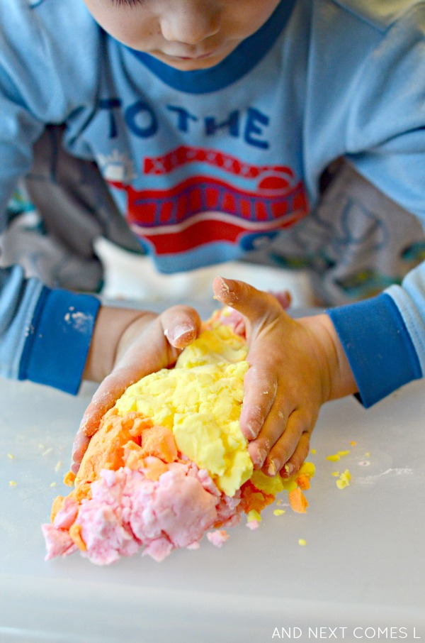 Scented sensory play with citrus easy dough - inspired by the book 150+ Screen-Free Activities for Kids - from And Next Comes L