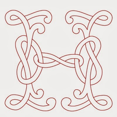 H Celtic calligraphy monogram tattoo stencil