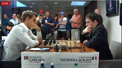 Le Roi des échecs Magnus Carlsen face au Français Maxime Vachier-Lagrave - Capture d'écran © Chess & Strategy