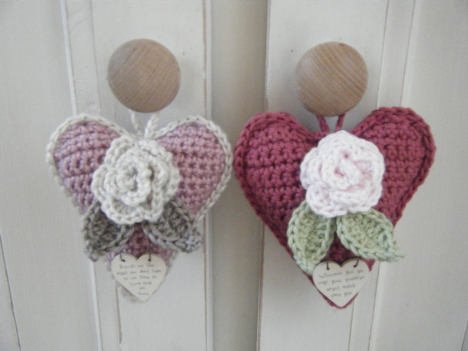 Crochet Rose Heart Door Hanger