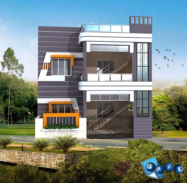 Duplex front elevation blue page infra design for Front elevations of duplex houses