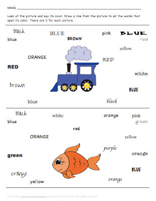 "Sample Student Printable page for ""Matching color pictures to color words"" from STEMmom.org"