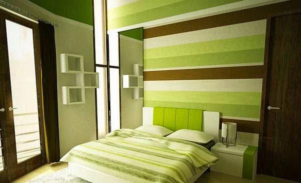 warna hijau kamar tidur minimalis