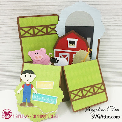 SVG Attic: Happy Farm Birthday with Angeline #svgattic #scrappyscrappy #boxcard #farm #birthday