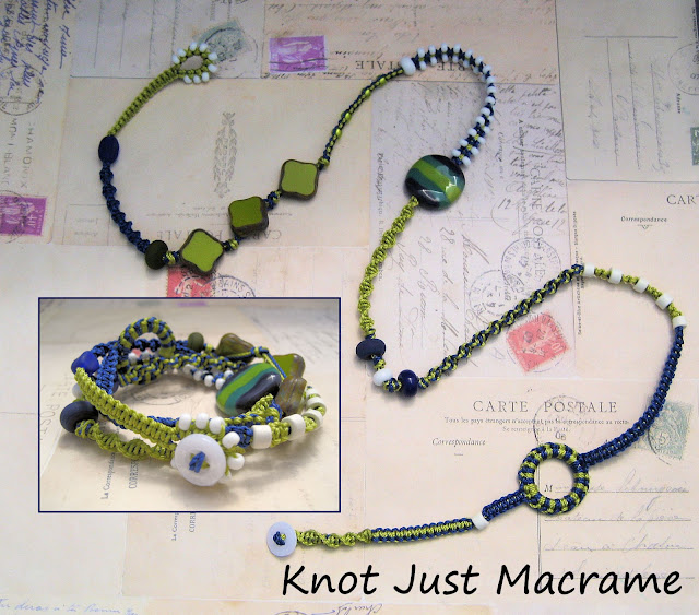 Blue, chartreuse and white macrame wrap bracelet by Sherri Stokey