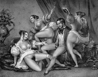 Старинная европейская гравюра изображающая эротическую сцену в публичном доме.