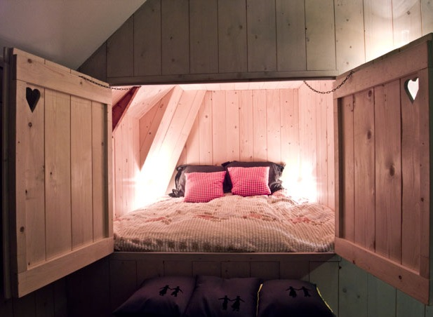 built-in wooden childrens' beds
