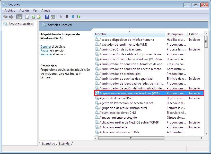 adquisición de imágenes para Windows (wia)
