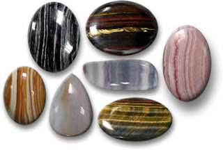 Gemstone Cabochons witrh Stripes