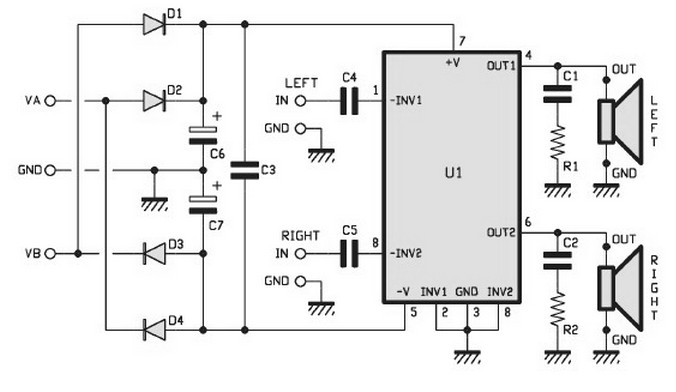 Audio Kit  2 X 15 Watt Stereo Audio Power Amplifier Circuits Based Tda1521