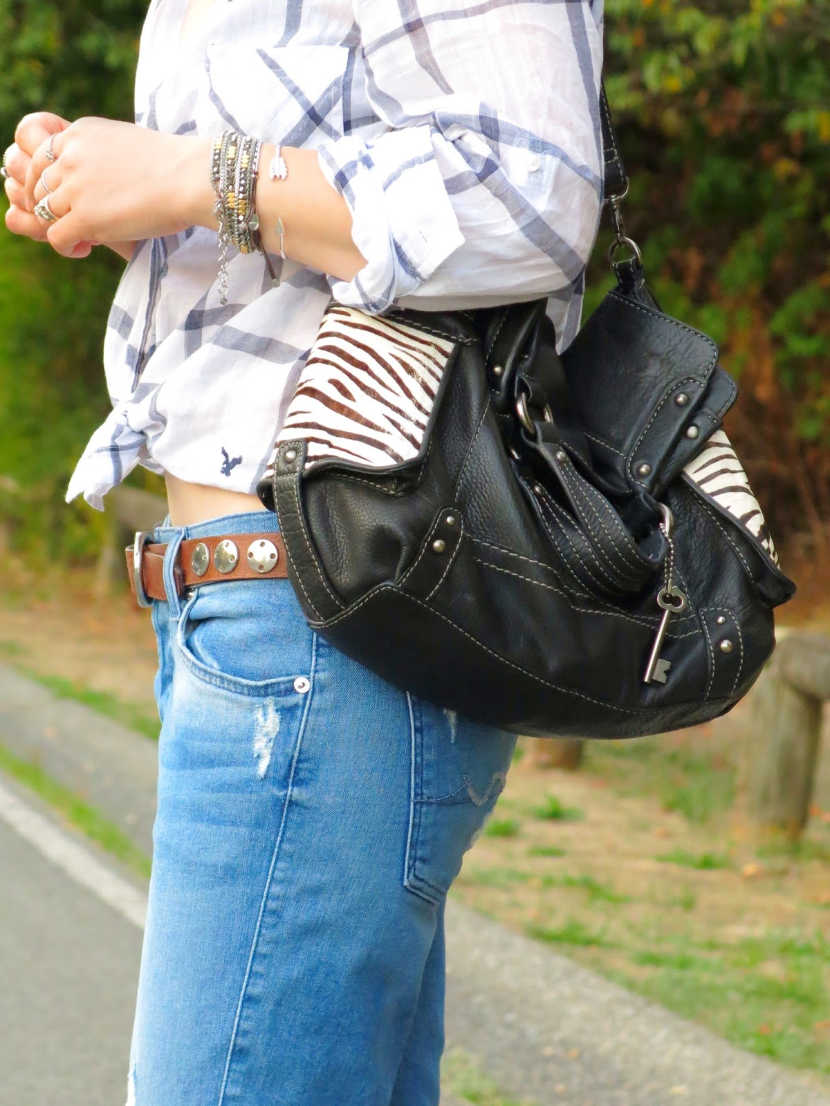 white plaid shirt, boyfriend jeans, Fossil bag, and accessories
