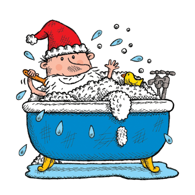 Illustration of Santa in the bath